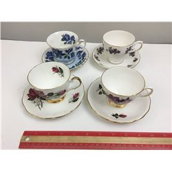LOT OF 4 TEA CUP AND SAUCERS