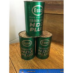 LOT OF 3 VINTAGE 1 QUART ESSO HDX OIL CANS FULL
