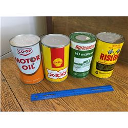 LOT OF 4 VARIOUS 1 QUART OIL CANS FULL