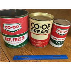 LOT OF COOP OIL RELATED CANS (GREASE CONTENTS)