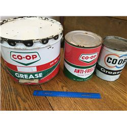 LOT OF COOP OIL RELATED CANS
