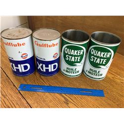 LOT OF GULF AND QUAKER STATE 1 QUART OILCANS