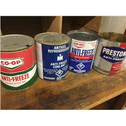 LOT OF 4 VARIOUS 1 GALLON ANTIFREEZE CANS