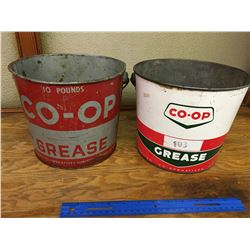 LOT OF 2 COOP 10 LBS GREASE PAILS