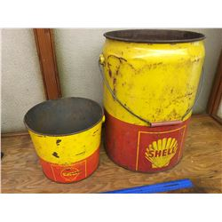 LOT OF 2 SHELL OIL PAILS