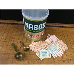 VINTAGE NABOB TIN BRASS SPOONS AND COUPONS