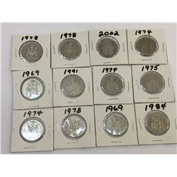 LOT OF 12 CANADA 50 CENTS PIECES BETWEEN 1969 AND 2002