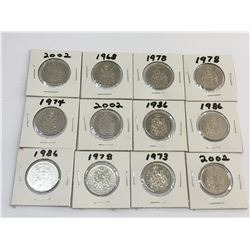 LOT OF 12 CANADA 50 CENTS PIECES BETWEEN 1968 AND 2002