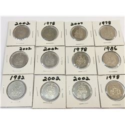 LOT OF 12 CANADA 50 CENTS PIECES BETWEEN 1978 AND 2007