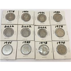 LOT OF 12 CANADA 50 CENTS PIECES BETWEEN 1974 AND 2002