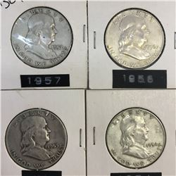 Lot of 4 USA SILVER 50 CENT PIECES 1953 1954 1956 1957