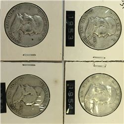 Lot of 4 USA SILVER 50 CENT PIECES 1950 1952 1953 1954