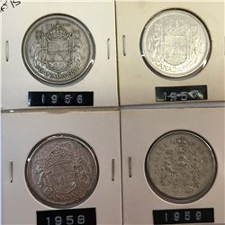 LOT OF 4 CANADA SILVER 50 CENT PIECES 1956 1957 1958 1959