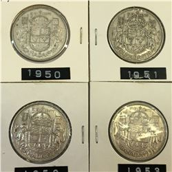 LOT OF 4 CANADA SILVER 50 CENT PIECES 1950 1951 1952 1953