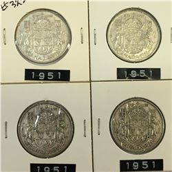 1951 LOT OF 4 CANADA SILVER 50 CENT PIECES