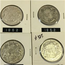 1952 LOT OF 4 CANADA SILVER 50 CENT PIECES