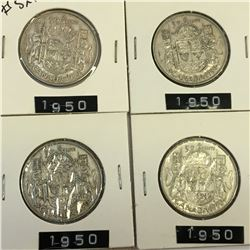 1950 LOT OF 4 CANADA SILVER 50 CENT PIECES