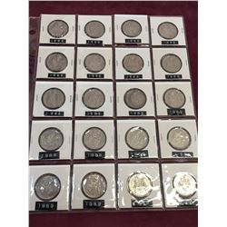 SHEET LOT OF 20 1969 CANADA 50 CENT PIECES