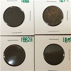 LOT OF CANADA LARGE CENT PENNIES 1859 1888 1882H 1895