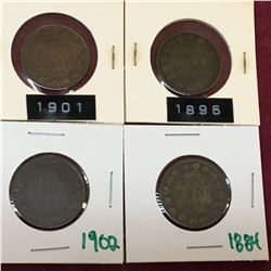 LOT OF CANADA LARGE CENT PENNIES 1884 1896 1901 1902