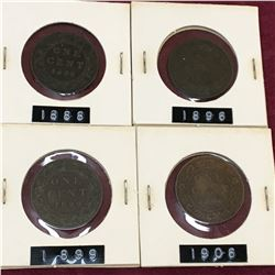 LOT OF CANADA LARGE CENT PENNIES 1888 1896 1899 1906