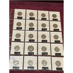 PAGE LOT OF 20 CANADIAN NICKELS BETWEEN 1927 AND 1936