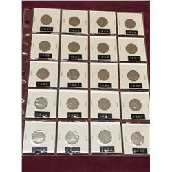 PAGE LOT OF 20 CANADIAN NICKELS BETWEEN 1928 AND 1936