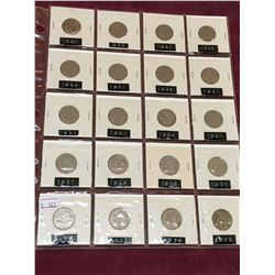 PAGE LOT OF 20 CANADIAN NICKELS BETWEEN 1924 AND 1936