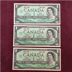 LOT OF 3  1967 CANADA $1 BANKNOTES