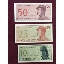 LOT OF 3 1964 INDONESIA BANKNOTES