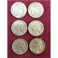 LOT OF 6 1936 USA BUFFALO NICKELS