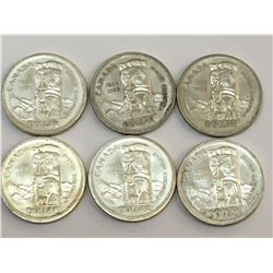LOT OF 6 1958 BRITISH COLUMBIA CANADA SILVER DOLLARS
