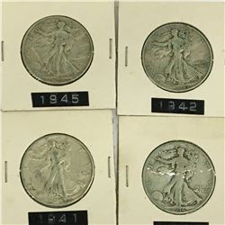LOT OF 4 USA SILVER 50 CENT PIECES 1936 1941 1942 1945