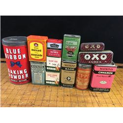 LOT OF VINTAGE SPICE AND BAKING TINS