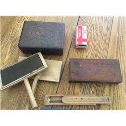 MISC LOT WOOL CARDERS BOODEN BOXES PENCIL BOX