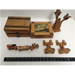 LOT OF WOODEN ITEMS BOXES CARS ETC