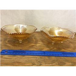 PAIR OF CARNIVAL GLASS FOOTED BOWLS