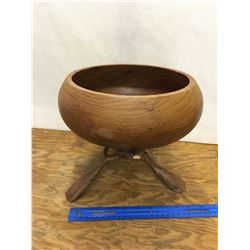 WOODEN BOWL AND CARVED STAND