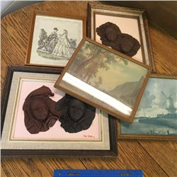 LOT OF FRAMED PIECES LEATHER FACE ART