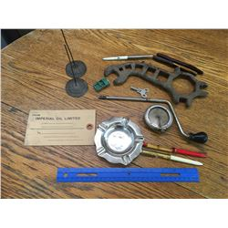 MISC LOT WRENCH FLOATER PENS GRAMOPHONE PARTS
