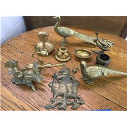 LOT OF BRASS BIRDS CANDLE HOLDERS ETC