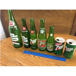 COLLECTION OF 7-UP BOTTLES AND CANS