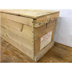 WOODEN EGG CRATE WITH LABELS AND LID