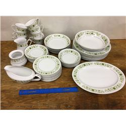 LOT OF TOWNE HOUSE GREEN DALE PATTERN DINERWARE