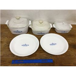 LOT OF CORNING WARE CASSEROLES AND PIE PLATES