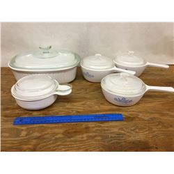 LOT OF CORNING WARE POTS AND CASSEROLE