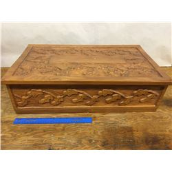 LARGE HAND CARVED JEWELLERY BOX APPROX 23 x 14 x 7