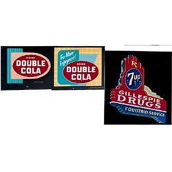 Orig. art 3 pieces Double Cola and 7-Up