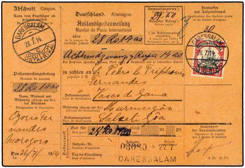 German Oriental Africa International Postal Money Order Form To