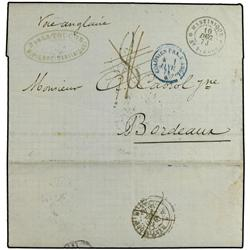 MARTINIQUE BRITISH POST OFFICE. Stampless envelope